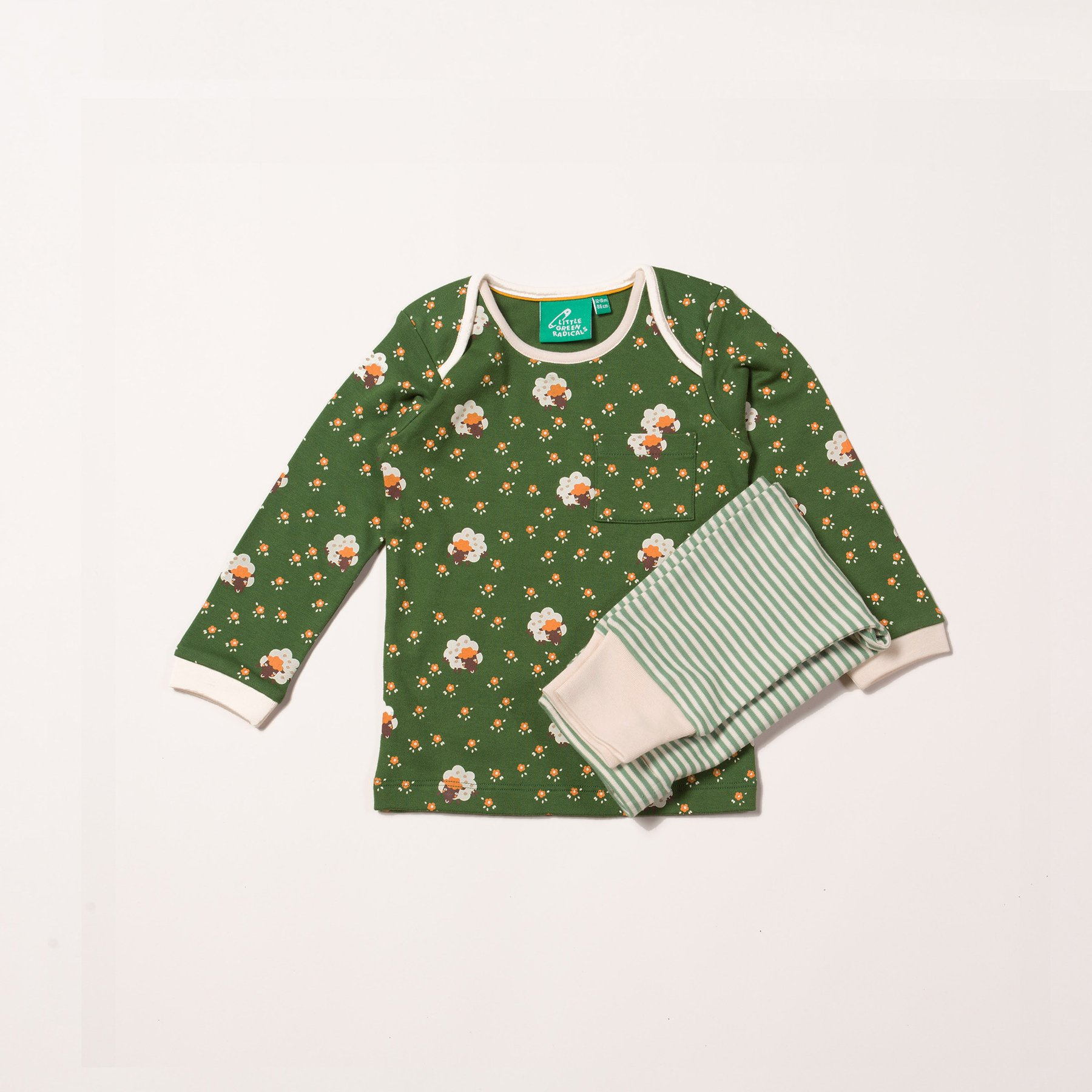 kids long sleeve pj set, green pin stripe leggings and forest green top with repeat golden sheep pattern