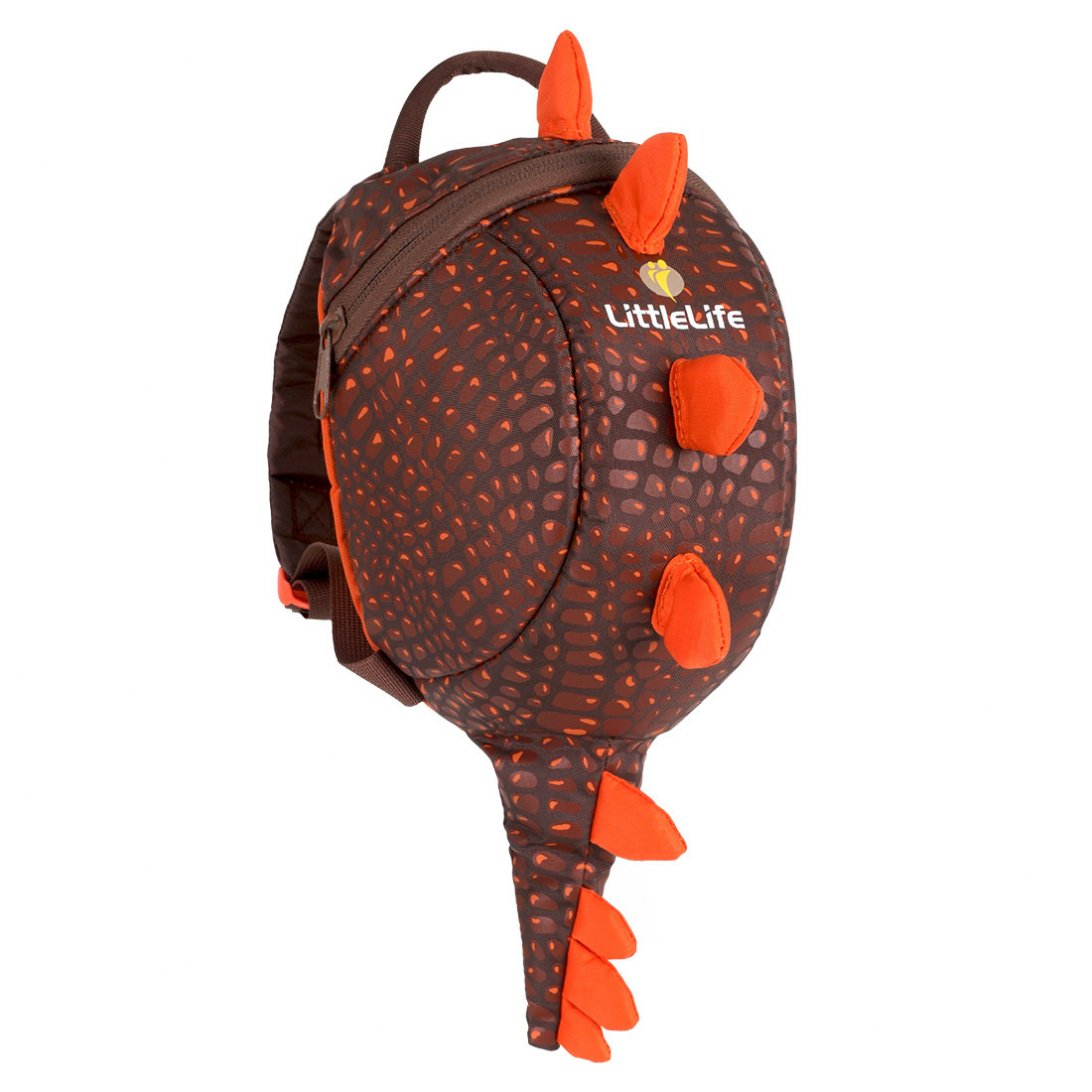 kids brown backpack in dinosaur style with orange spikes