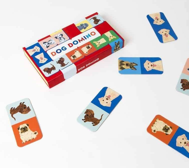 brightly coloured dog version of dominoes with different breeds