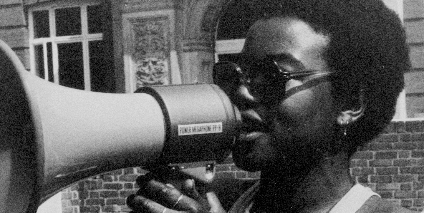 image of olive morris with a megaphone