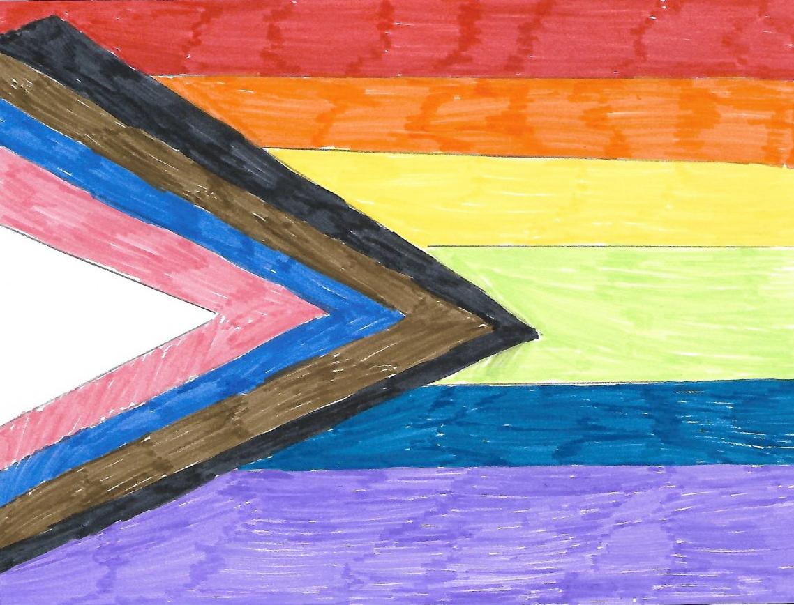 Pride flag drawn by a child - Chloe