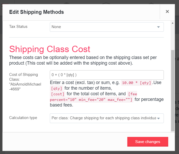 A screen shot of the advanced shipping section on the dashboard.