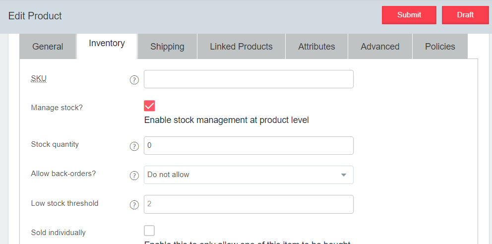 Screen shot of the user dashboard showing stock level at zero
