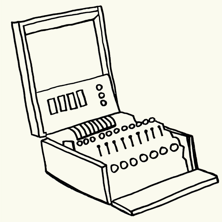 a line drawing of an enigma machine