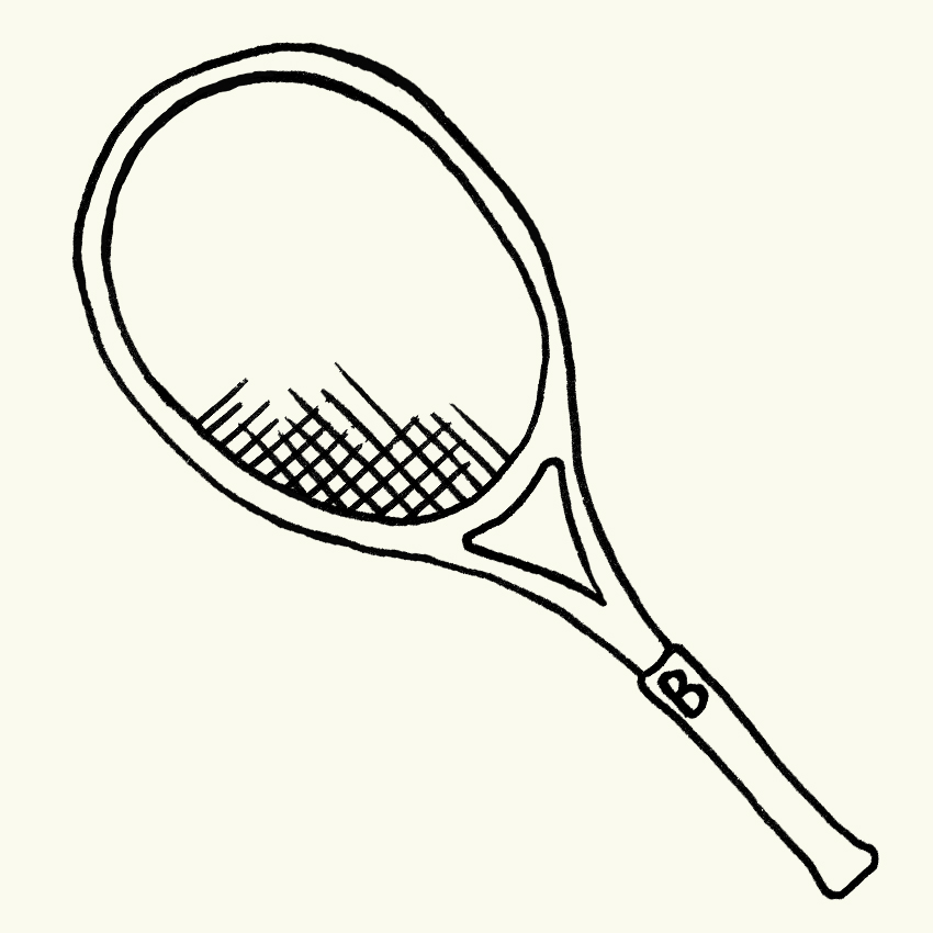 a line drawing of a tennis racket