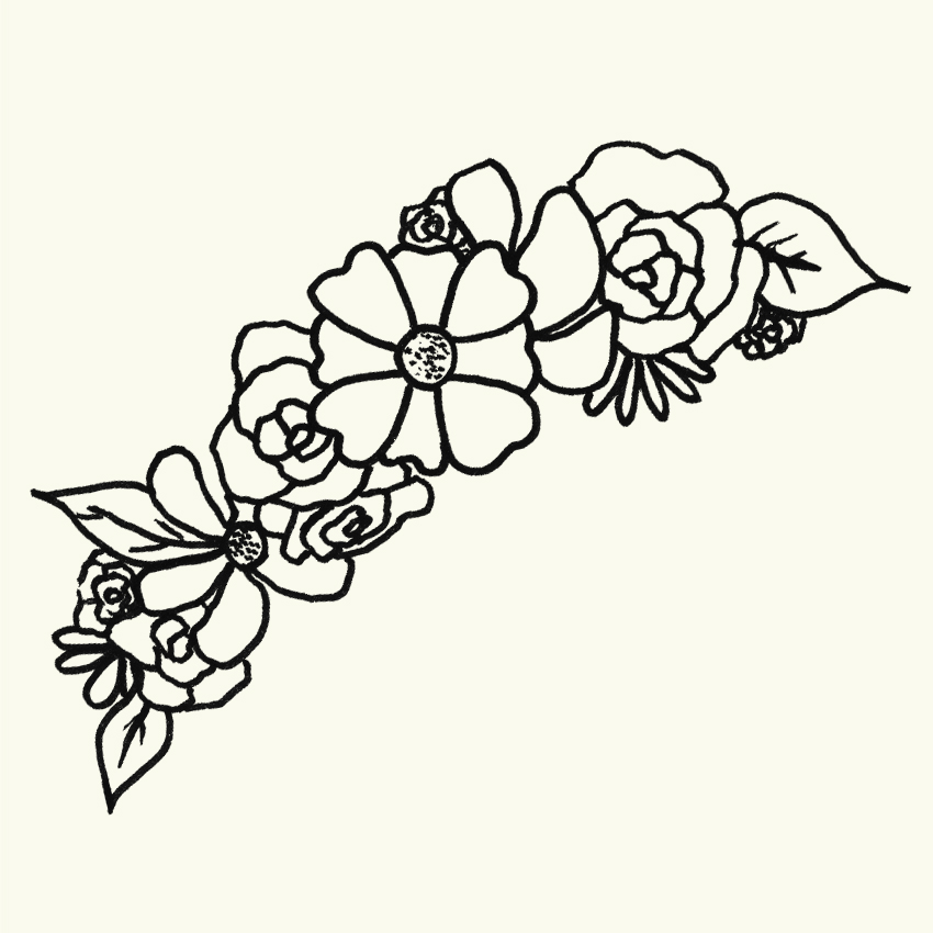 a line drawing of a flower crown