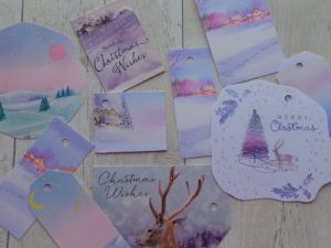 Pastel gift tags featuring a deer