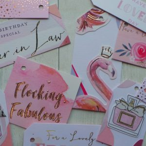 A selection of pink gift tags including a flamingo and the text flocking fabulous