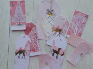 Christmas gift tags in pink with gold deer and baubles