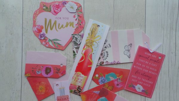 Selection of coral gift tags with florals and dedicated Mum tags