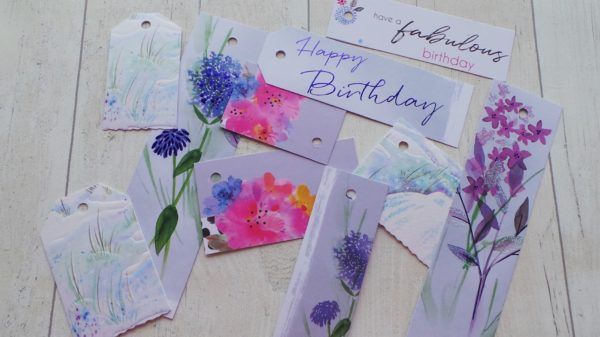Grey gift tags with grown up stylish flowers