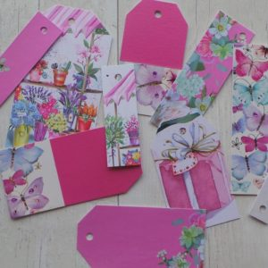 Selection on fuschia pink tags and tags with flowers