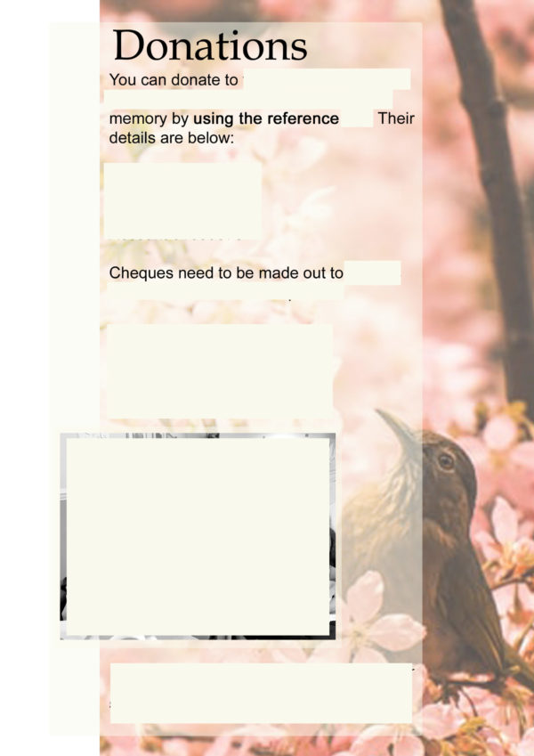 example of a funeral booklet donations page