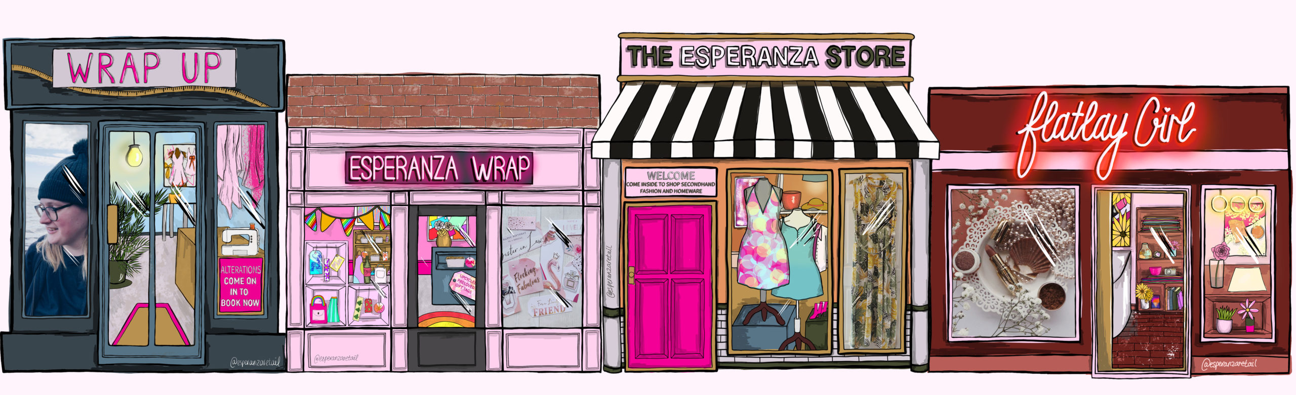 Homepage banner: an illustrated high street featuring the 4 esperanza shops.