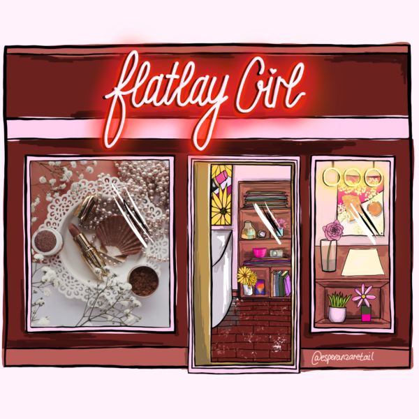 Illustration of Flatlay Girl in a burgundy and terracotta red with a photo of a flatlay in one window and a flatlay set up table in the other.