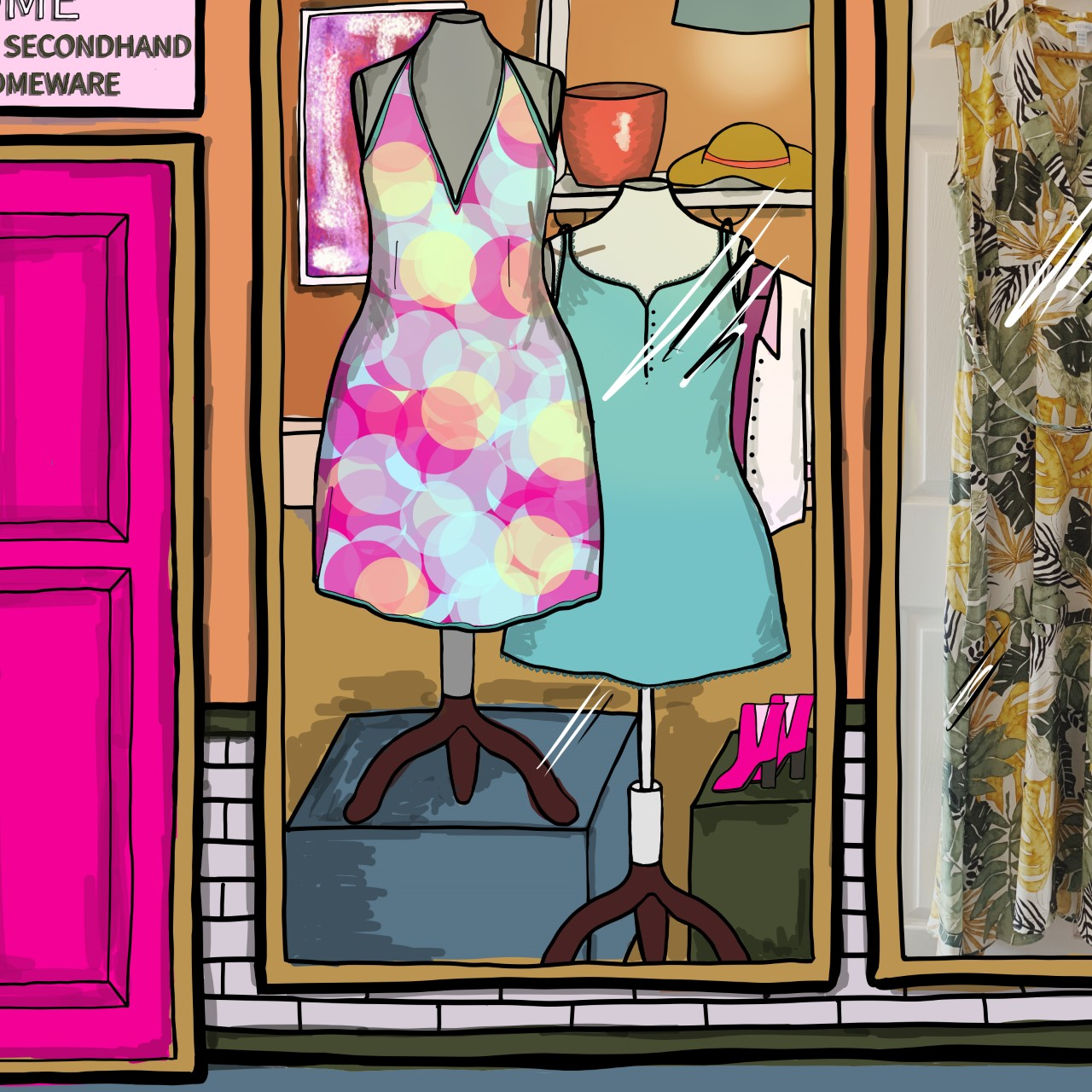 Illustration of The Esperanza Store window zoomed in - mannequins wear colourful dresses and there's a photo of a real dress in the next window
