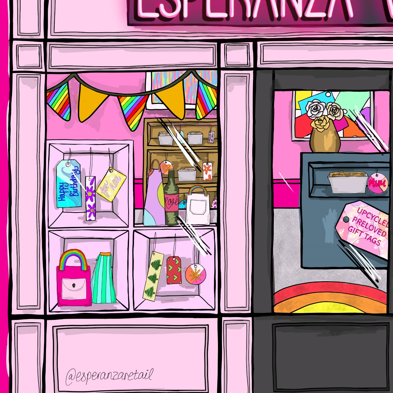 A zoom in of the illustrated window of Esperanza Wrap with the rainbow bunting and selection of colourful tags in the window.