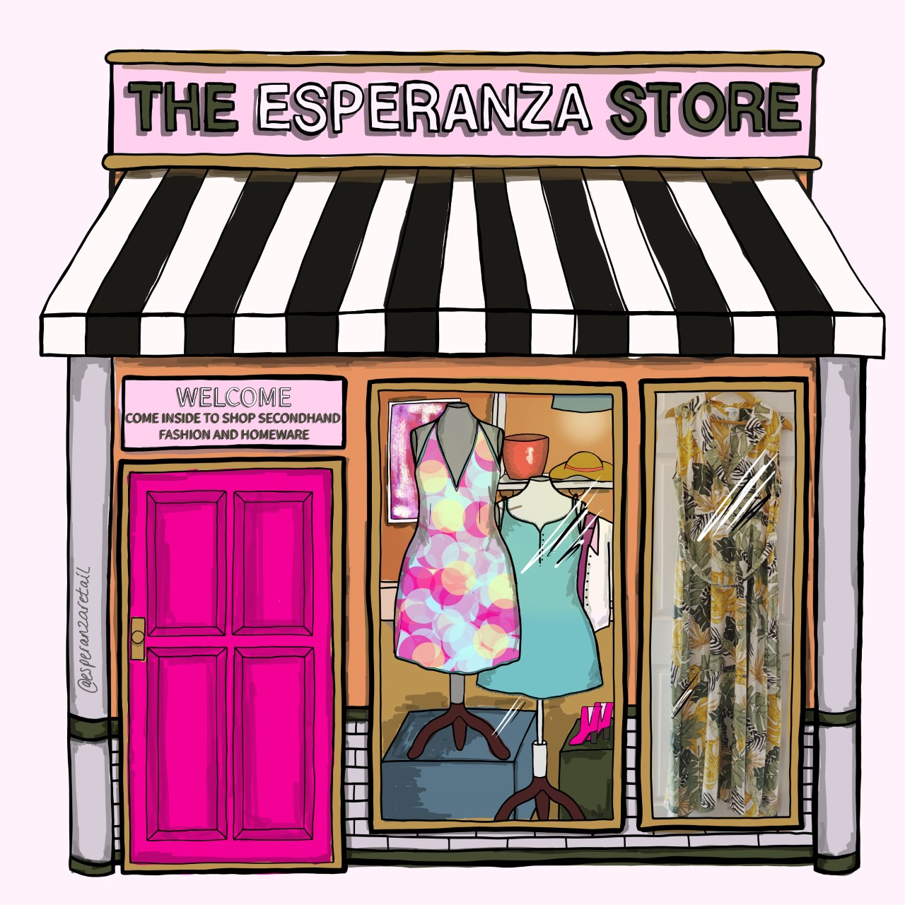 Illustration of The Esperanza Store with a black and white striped awning and mannequins in the window.