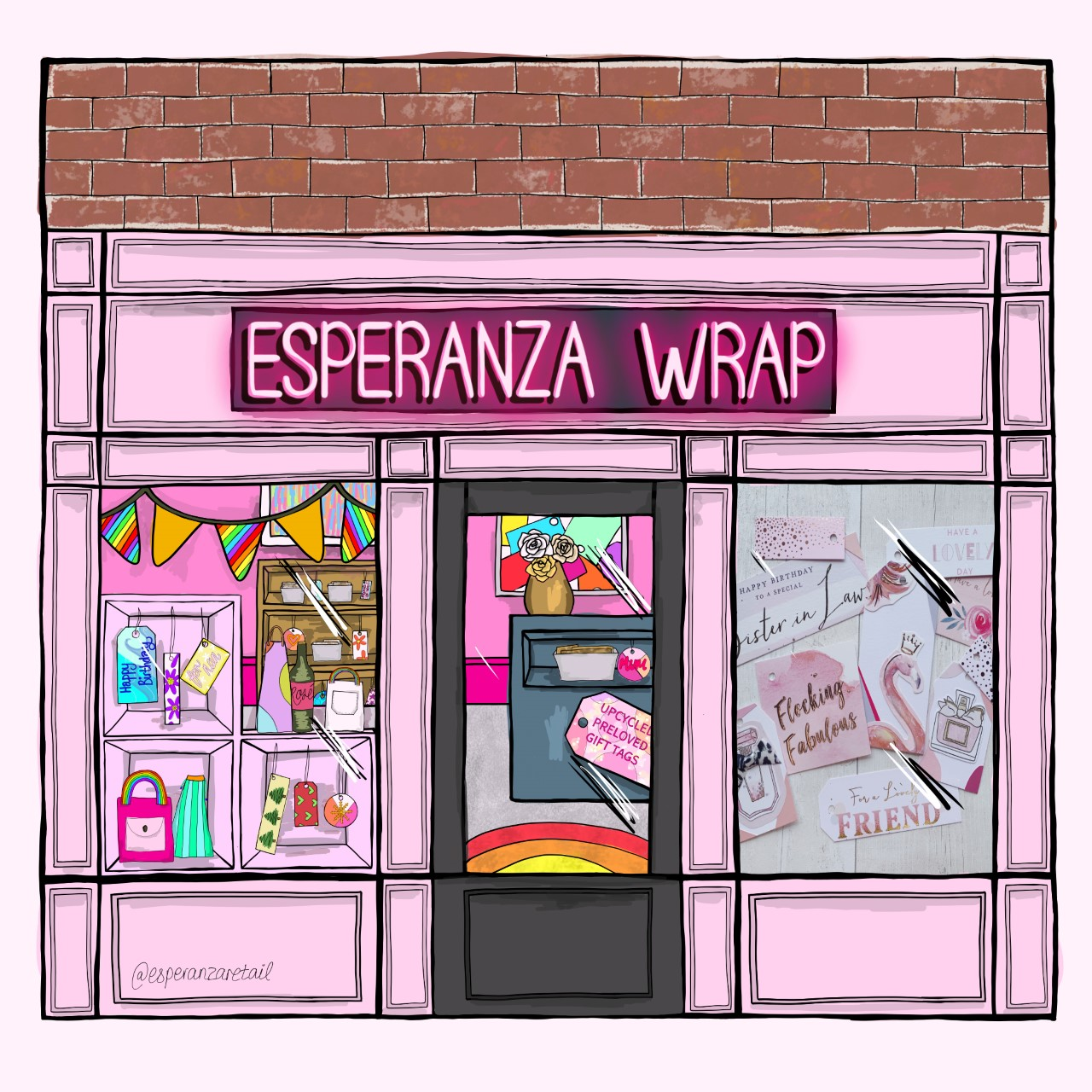 An illustration of Esperanza Wrap with rainbow bunting, pink walls and a colourful display of gift tags in the window