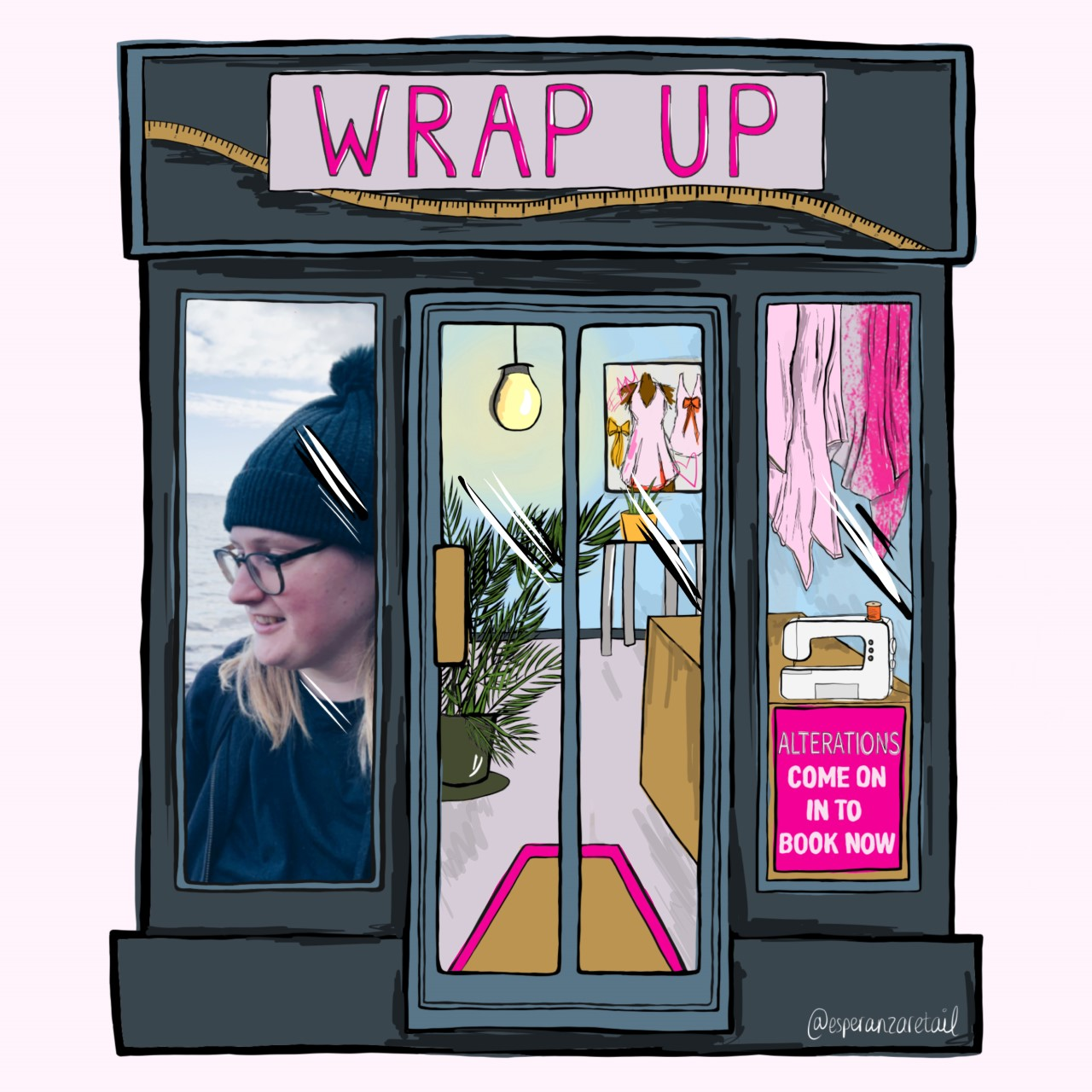 Illustration of Wrap Up in a denim blue. Photo of Emma in the window and fabrics and sewing machine in the other.