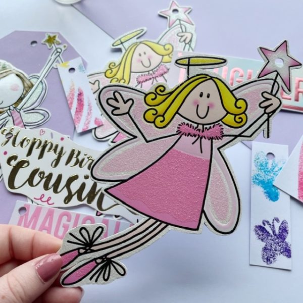 Fun sparkly fairies and pink magical, daughter and cousin tags