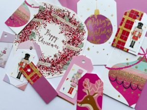 Cerise tags with nutcrackers, a wreath and tartan