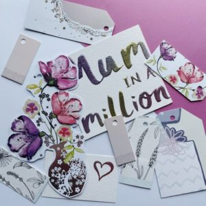 Selection of floral tags with purples and cerise