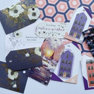 Winters houses and floral tags in purple and coral