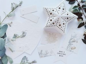 Selection of mainly plain white tags with embossed holly or snowflakes, really nice to touch. Others have simple line drawings of foliage, a simple snowflake and one star shape tag.