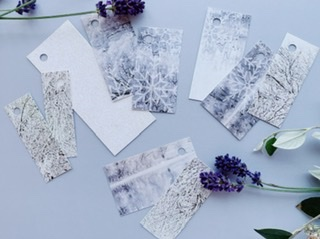 One larger white glitter tag, some silver very sparkly tree textures and some slightly lilac grey abstract snowflake/snow tags. Very grown up and sophisticated.