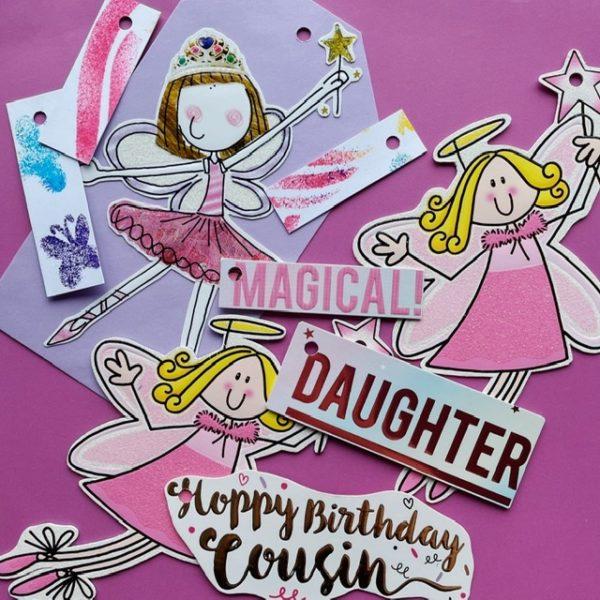Fairies and fun colourful bright tags