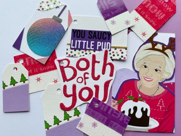 Gift tags featuring an image of Mary B in purple