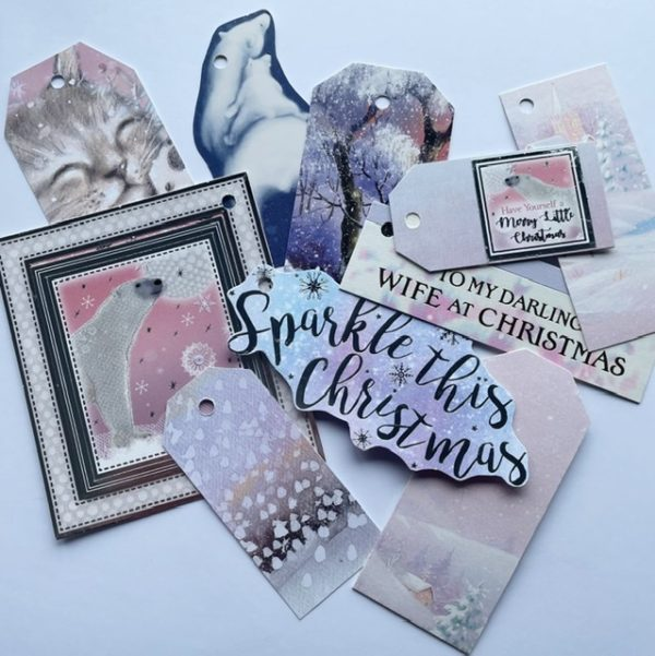 Pink pastel tags featuring polar bears and kitten