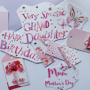Floral tags with family connections - roses and butterflies in pink